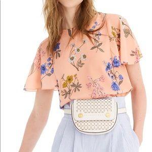 NWT $110 J.Crew 100% Silk Floral Flutter Blouse